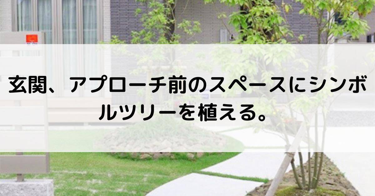 玄関、アプローチ前のスペースにシンボルツリーを植える。